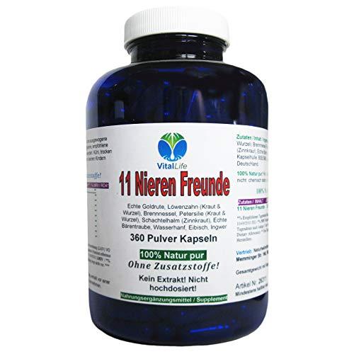 11 Nieren Freunde 360 Kapseln | Natürlich starke Kräuter für Nieren + Blase + Harnwege | NATUR pur OHNE Zusatzstoffe | 26311 -
