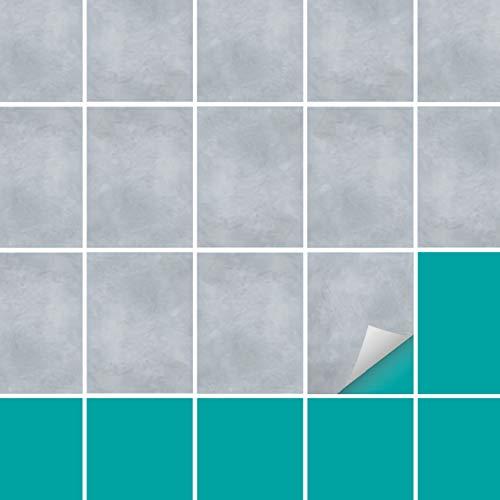 PrintYourHome Fliesenaufkleber für Küche und Bad   Fliesenfolie für 15x20cm Fliesen   Dekor Beton Blaugrau   152 Stück   Klebefliesen günstig in 1A Qualität