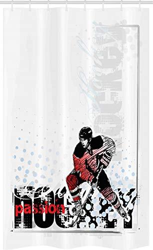 ABAKUHAUS Eishockey Schmaler Duschvorhang, Goalie, der Grafik spielt, Badezimmer Deko Set aus Stoff mit Haken, 120 x 180 cm, Mehrfarbig