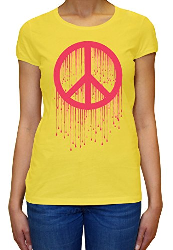 Peace Painted Logo Pink Graphic Design Women's T-shirt XX-Large (Womens Painted T-shirt Logo)