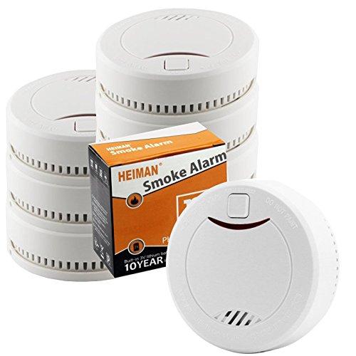 HEIMAN 10-Jahres Rauchmelder/Feuermelder / Brandmelder mit Status LED und fotoelektrischen Sensor -...