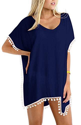 PINKMILLY Damen Strandponcho Sommer Überwurf Kaftan Strandkleid Bikini Cover Up Freie Größe Marineblau -