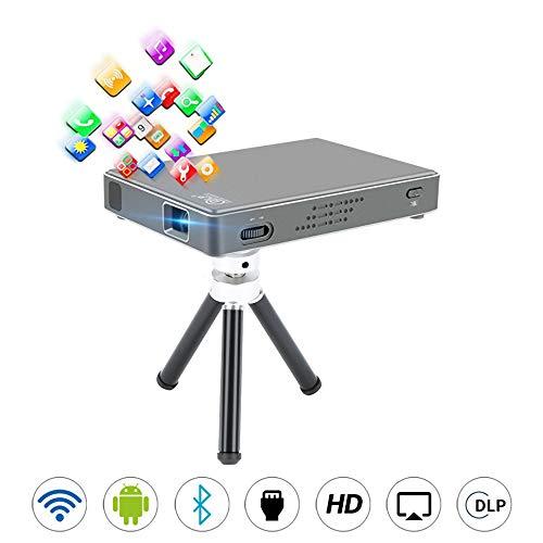 HD Dlp Projektor Mini Android Projektor 2.4G und 5G Dual Wi-Fi für Home/Office/Outdoor-Unterstützung Avi, 1080P HD-Wiedergabe, SECAM, Andere -