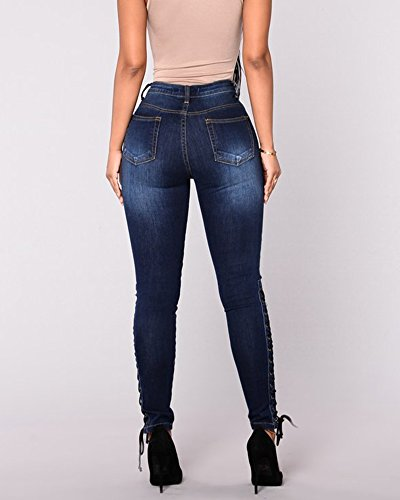 Donna Denim Bandage Skinny Vita Alta Leggings Elasticità Denim Pantaloni dritti Jeans Pantaloni Blu scuro