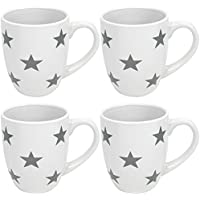 """COM-FOUR® Taza de café 4x""""Estrellas"""" en diseño estrella con estrellas grises en una taza blanca, 300 ml (04er mix blanco/gris)"""
