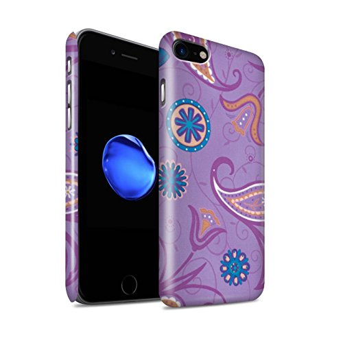 STUFF4 Glanz Snap-On Hülle / Case für Apple iPhone 8 / Grün/Weiß Muster / Frühlingszeit Kollektion Lila/Orange