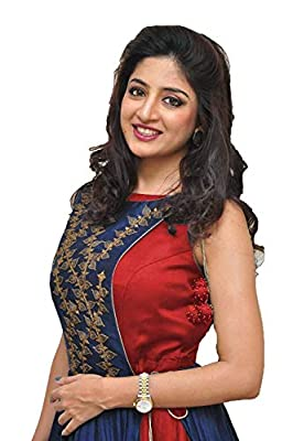 Drashti villa Women's Banglory Silk Embroidered Gown with Jacket (Free Size) (Blue-Red)