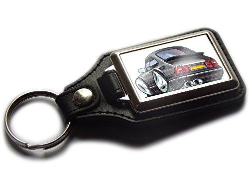 saab-900-turbo-sports-car-premium-koolart-leather-and-chrome-keyring-choose-a-colour-silver