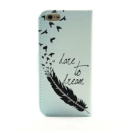 "Sunroyal Chic Wallet Case Kunstlederhülle für iPhone 5C - Cover Flip Tasche Feder Vogel ""Love to Dream"" Design Luxus Magnetic Flip Case mit Kartenfach und Ständerfunktion, Magnetverschluss in + Univer Pattern 03"
