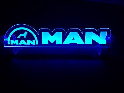 Preisvergleich Produktbild 24 Volt LED Leuchtschild für LKW Truck Trucker Fahrer Blau Logo Schild Kabine Zubehör Dekoration Accessoires Laser Graviert 24V / 5W