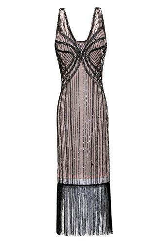 Metme Damen Vintage 1920er Jahren inspirierte Fransen Perlen Jugendstil Gatsby Party (Kostüme Abbey Downton Aus)