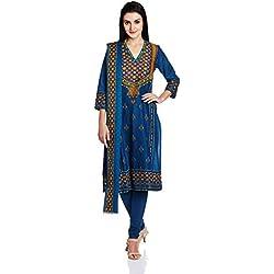 Biba Women's Straight Salwar Suit (SKD4686_Indigo_32)