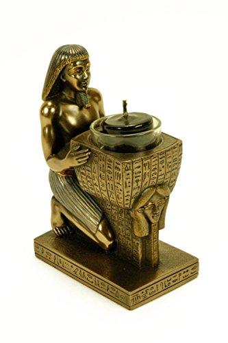 Figura egipcia que sirve de portavelas de los faraones Nespakashuty y Hator. Material: Resina Medidas: 10 x 6,5 x 15 cm.