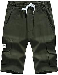 Hombre Sencillo Boho Chic de Calle Tiro Alto Microelástico Chinos Shorts Pantalones,Corte Recto Un Color Simple Letra , army green , l
