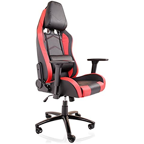 Deluxe Rosso Racer Gioco Sedile reclinabile 180360girevole sedia da ufficio