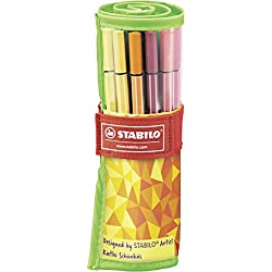 Rotulador STABILO Pen 68 - Estuche premium de tela Rollerset Fan Edition con 25 colores