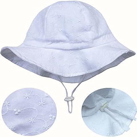 Chapeau contre le soleil pour les tout-petits avec mentonnière, cordon d'ajustement de la taille de la tête, respirant , FPS de 50+ (M: 6mois-3Ans, Oeillet blanc )