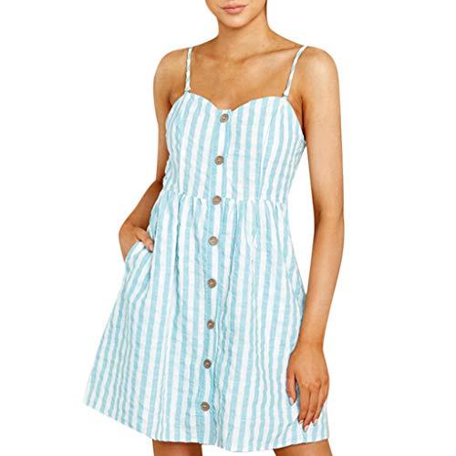 gestreiftes Kleid der Darmschlinge Kleider Damen Sommer Elegant Knielang Festlich Hochzeit Floral Kürze Schulterfrei Minikleid Strand Party Abendkleider (Hellblau, S) ()