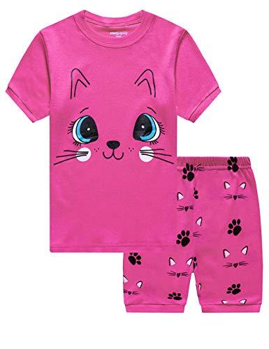 Little Hand Schlafanzug Mädchen Giraffe Flamingo Mond Katze Kinder Sommer Zweiteiliger Baumwolle Kurz Nachtwäsche T-Shirt und Hose, Katze, 104 (HerstellerGröße: 110) , Kleinkind, Katze