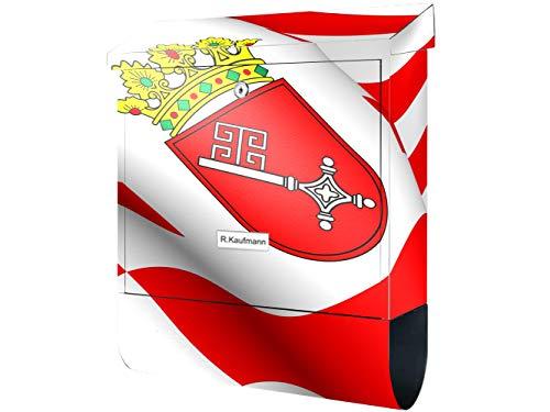 KlebeSpatz® Motiv Wand Briefkasten Premium mit Zeitungsfach Zeitungsrolle für C4 mit Zeitungsrolle Flagge Bremen