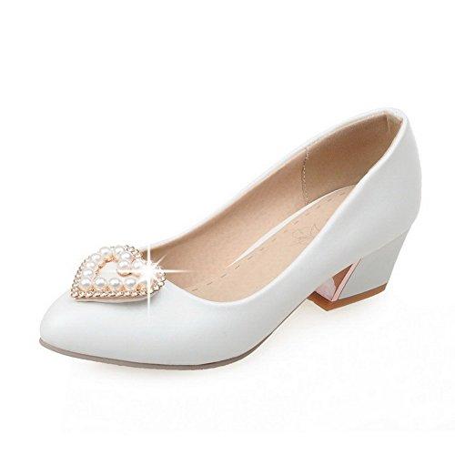 VogueZone009 Femme Tire à Talon Correct Pu Cuir Couleur Unie Fermeture D'Orteil Pointu Chaussures Légeres Blanc
