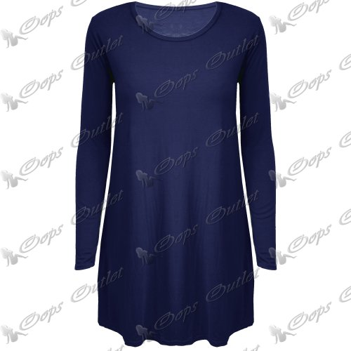 Damen Freizeit Einfarbig Rundhals Langärmlig Schlaghose Jersey Swing Kleid Top Wein - Arbeit Büro Langes Kleid