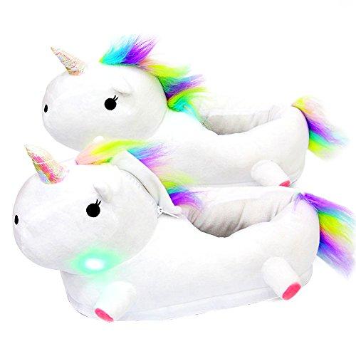 Pantoufles d'hiver en peluche licorne à LED Chaussons d'intérieur très chaud et antidérapants en forme de licorne Chaussons unisexes, pour femmes, hommes ou enfants en taille unique