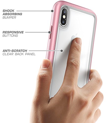 Supcase iPhone X Hülle, [Unicorn Bettle Style] Premium Handyhülle Hybrid Transparent Schutzhülle Stoßfest Case Cover für Apple iPhone X / iPhone 10 2017, Schwarz Rosagold