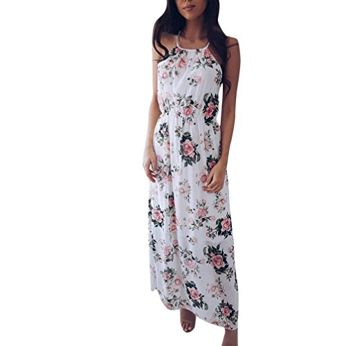 SANFASHION Maxikleider Kleid Damen Sommer Boho Floral Lange ärmellose Abendgesellschaft Strand Sommerkleid (Floral Rock Satin Anzug)