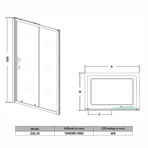 Schiebetür – Duschabtrennung mit Glas links und rechts - 4