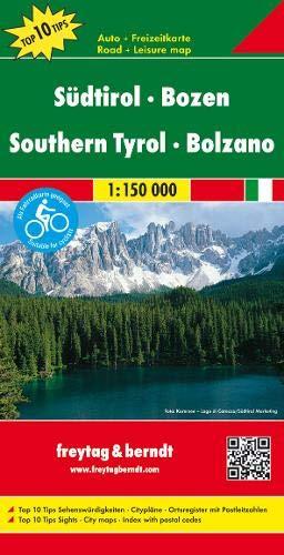 Südtirol - Bozen, Autokarte 1:150.000, Top 10 Tips, freytag & berndt Auto + Freizeitkarten