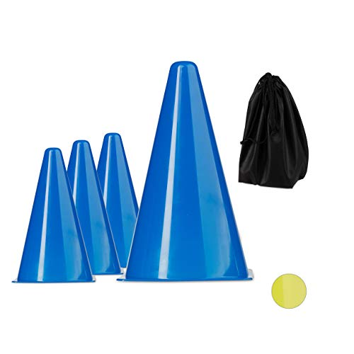 Relaxdays Fußball Leitkegel im 10er Set, stapelbar, mit Schnürbeutel, Trainingshilfe, Markierungshütchen, Reitsport, blau, 22 cm