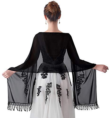 Yaomei donna sciarpa stole scialli, ricamo scialle per il tempo libero e il commercio nuziale bridemaids abiti da sera partito (taglia unica: 86,6 * 19,7 pollici (220 cm * 50 cm), nero)