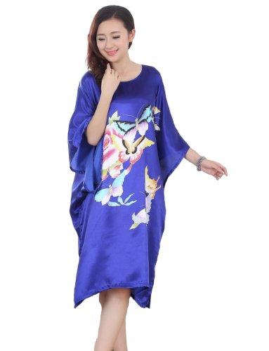 JTC Femme Vêtement de Nuit Robe Imprimé Chinois Fleur (bleu) JTC
