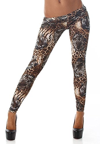 Q.A. Damen Leggings lang in verschiedenen Designvarianten, Tigerkopf Größe 34-40 - Leopard Print Höschen