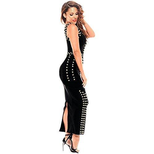 HLBandage Rayon Sleeveless Metal Ring Maxi Long Sexy Robe Bandage Dress Nero