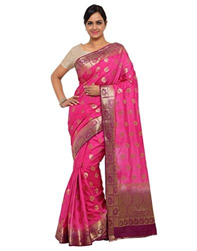 Varkala Silk Sarees Women's Raw Silk Paithani Saree With Blouse Piece(ND1011RNJB_Pink_Free Size)