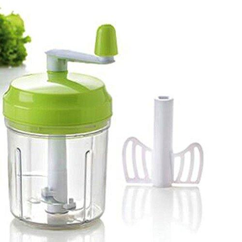 Mini Kräuterhacker Gemüsehacker Zwiebelhacker Knoblauchhacker Mixer mit Kurbel, grün, ca. Ø 9.5 cm