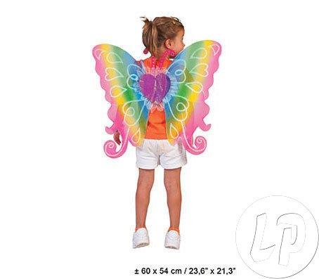 Flügel Regenbogen Fee 60x54 cm - Schöne Feenflügel in Regenbogenfarben für Kinder zum (Fee Flügel Kind)