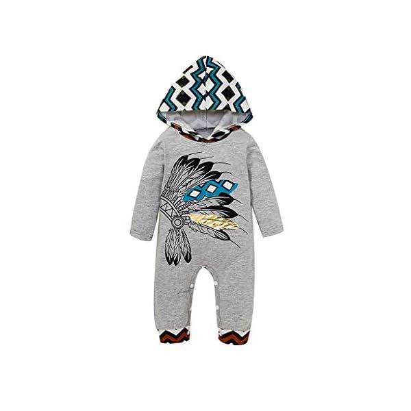 MYONA Bebé Mameluco con Capucha, Mono Bebé de Invierno con Estampado de Dibujo Animado Traje para Bebé Recién Nacido… 1