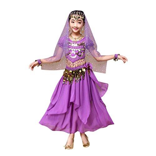 Hunpta Kinder Mädchen Bauchtanz Outfit Kostüm Indien Dance Kleidung Top + Rock (90~115cm, Lila)