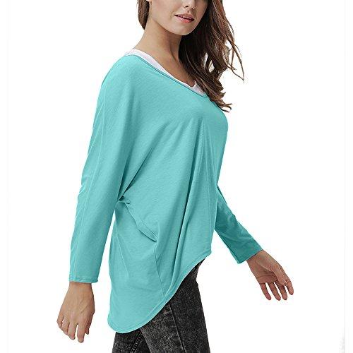 ANVEY Damen Lose Asymmetrisch Oversized Sweatshirt Pullover Bluse Oberteile Hiebärmel Modestil Tops T-shirt Grün