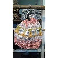 Bonnet jacquard tricoté main pièce unique animaux