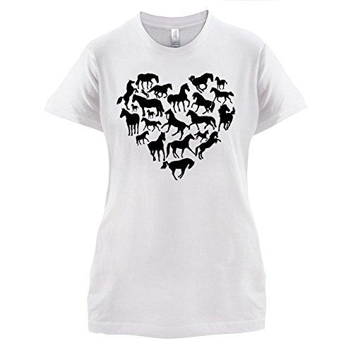 Love Heart Horse - Damen T-Shirt - 14 Farben Weiß