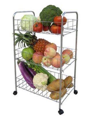 PREMIUM QUALITY 3 TIER CHROME KITCHEN FRUIT VEGETABLE STORAGE TROLLEY CART