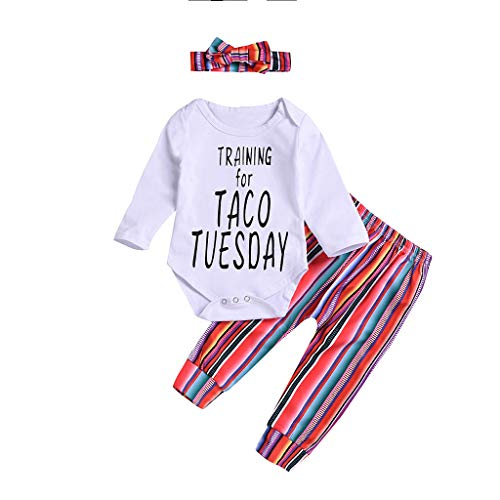 Taco Kinder Kostüm - WEXCV Kleinkind Kinder Baby Mädchen Tops Briefdruck Training for Taco Tuesday Strampler Jumpsuit Overall + Farbstreifen Hosen Sets + Haarband für 0-24 Monate