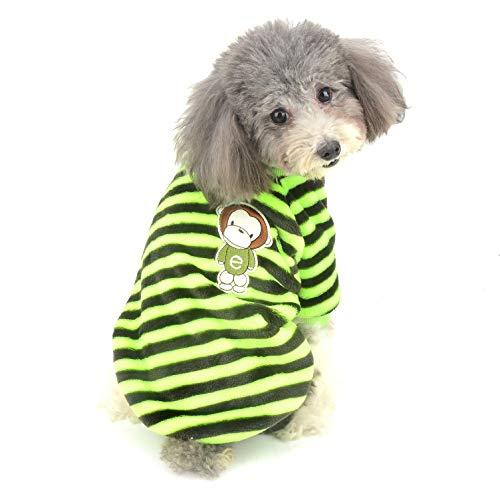 Ranphy Pullover für kleine Hunde, Samt, für den Winter, warm, gestreift, für Chihuahua-Spielzeug, Pudel, Katze