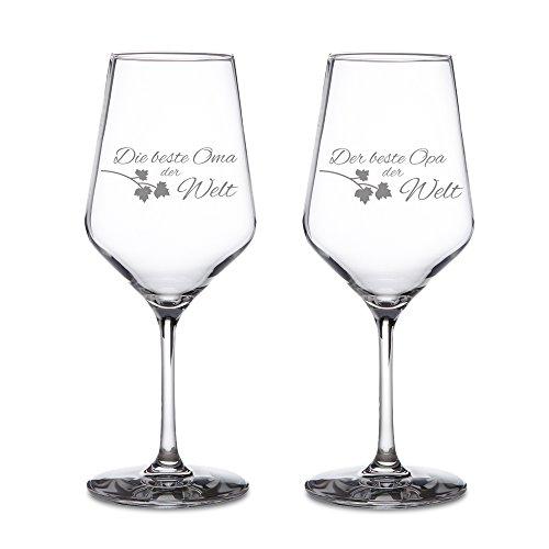 AMAVEL Weißweingläser – 2er Set Weingläser mit Gravur für Oma und Opa – Standard– Motiv 3...