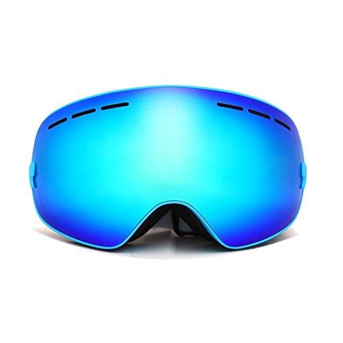 JoySki 7 colori professionale unisex Occhiali da sci con specchio rivestimento anti-nebbia protezione UV400 staccabile grandangolare Big sferica lente doppia esterna Neve Sci Snowboard Skate Snowmobile Moto Sport invernali Eyewear (scatola originale Includi) Blu