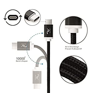 USB Type C Cable, USB C Cable 3Ft Nylon Braided 2.8A Fast Charger Cord for Samsung Galaxy S9 S8 Plus Note 8, LG V30 G6 G5 V20, Nintendo Switch Google Pixel 2 xl Nexus 6p 5x Huawei Moto Z (3 FT Pack of 1, Black)
